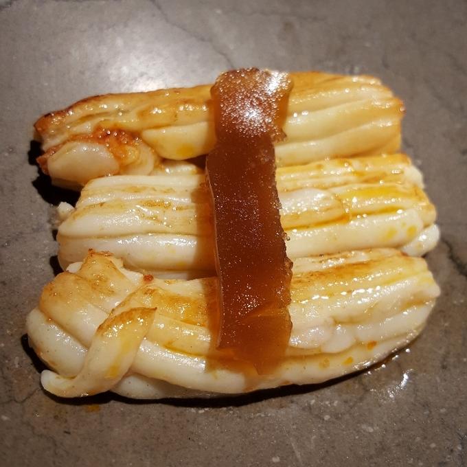 Sa Brisa Madrid (Espardeñas rellenas de sobrasada y gelatina de caldo de cochinillo)