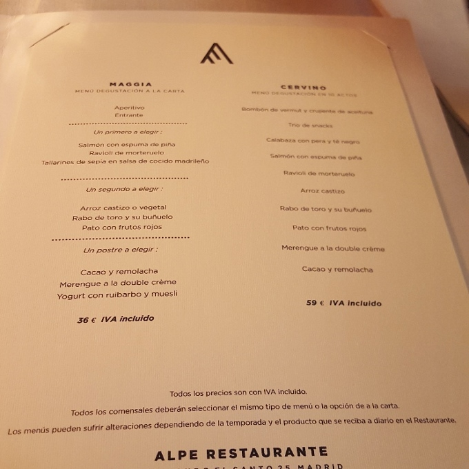 Alpe (Carta de menús)
