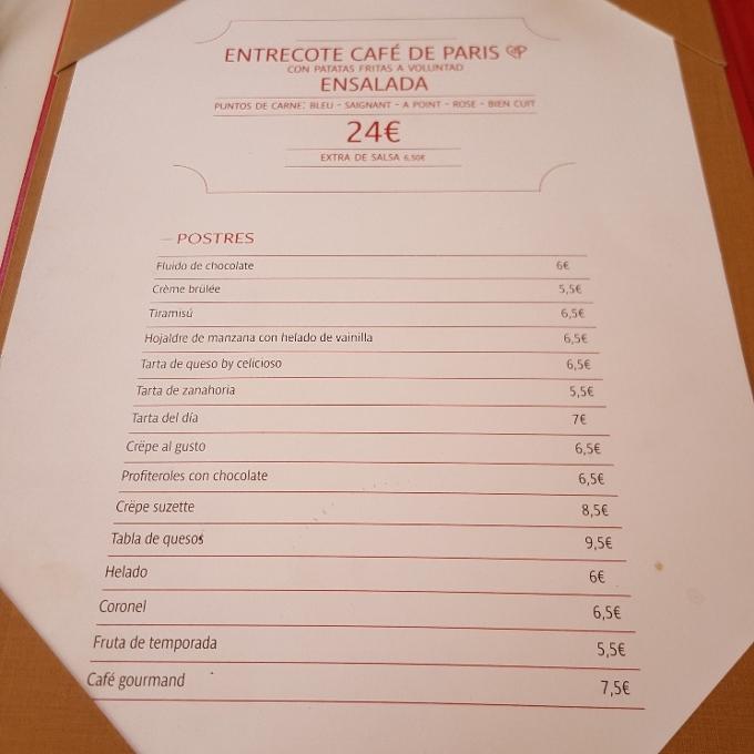 Café de Paris (Carta de menú)